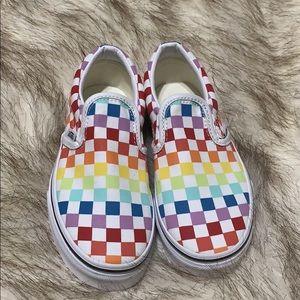 Nwot Kids rainbow checkered vans